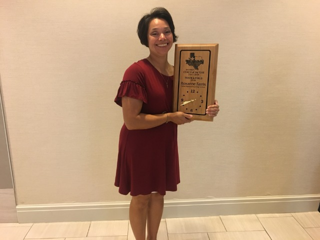 Coach Farris - 2017-18 TX Girls Coaches Association Sub-Varsity Track/Field Coach of the Year