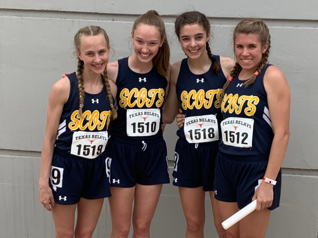 2019 Texas Relays - 4 x 200 M Relay - Sophomores Meredith Sims and Claire Cochran, Freshman Abigail Schott, and Junior Erin Harper