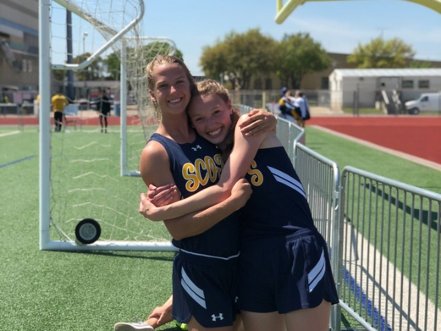 2019 District 11-5A Meet - Junior Captain Olivia Conner and Sophomore Claire Cochran - 100 M Hurdles