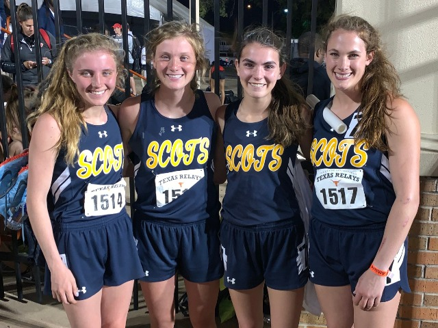 2019 Texas Relays - 4 x 400 M Relay - Sophomore Emma Means, Junior Mary Warriner Kemp, Senior Captain Maddy Stephens, and Sophomore Ella Patterson