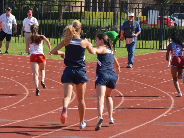 2019 District 11-5A Meet - Junior Captain Olivia Conner and Senior Captain Maddy Stephens - 4 x 400 M Relay
