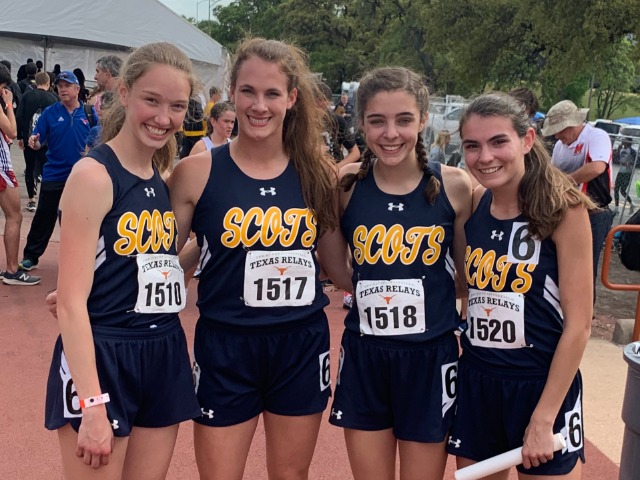 2019 Texas Relays - SMR - Sophomores Claire Cochran and Ella Patterson, Freshman Abigail Schott, and Senior Captain Maddy Stephens
