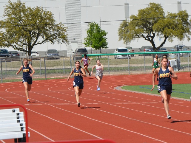 2019 District 11-5A Meet - Sophomore Ella Patterson, Senior Captain Maddy Stephens, and Junior Mary Warriner Kemp - 400 M Dash