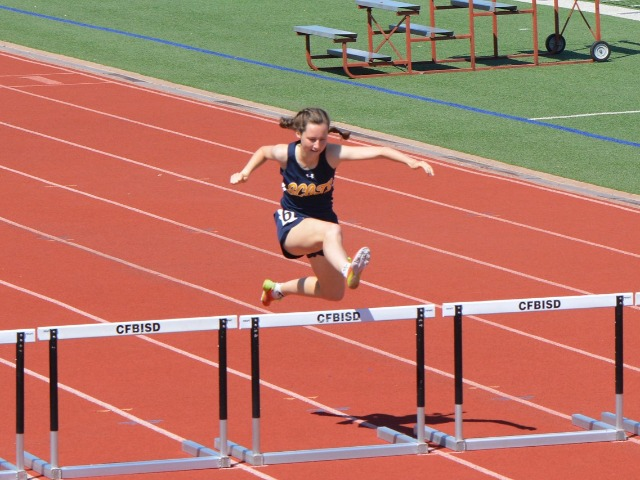 2019 District 11-5A Meet - Senior Captain Ashley Booe - 300 M Hurdles