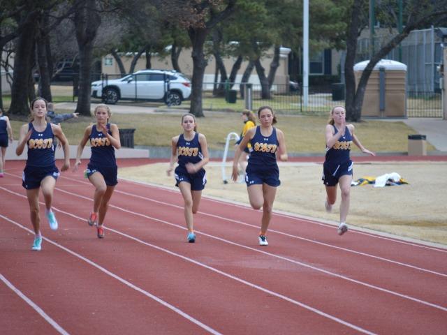 2019 Dual Meet - Senior Anastasia Helms, Sophomore Katarina McIlveene, Freshman Zoe Sharpe, Sophomore Anna Gregory, and Freshman Leah Lavoie - 100 M Dash