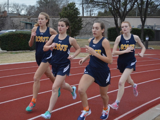 2019 Dual Meet - Freshman Alli Grace Ott, Sophomores Izzy Blaylock and Elle Thompson, and Junior Captain Gracyn Applegate - 1600 M Run