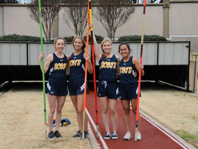 2019 Dual Meet - Lady Scots Vaulters - Junior Breanne Spence, Sophomore Katarina McIlveene, Senior Sidney Stamm, and Junior Rebekah Miller