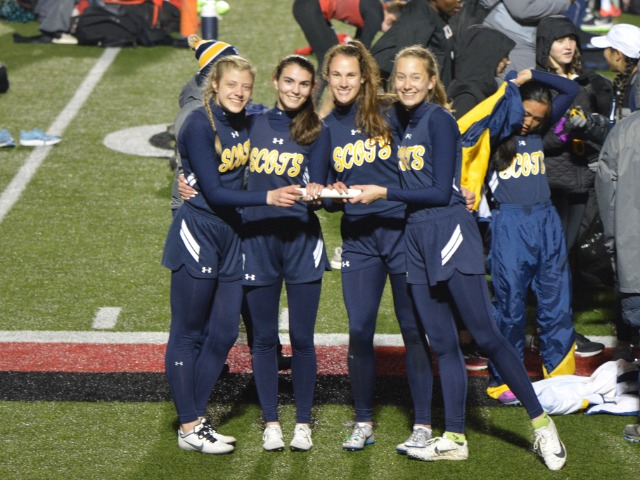 2019 Coppell Relays - Varsity 4 x 400 M Relay - Junior Alie Lavish, Senior Captain Maddy Stephens, Sophomores Ella Patterson and Elle Thompson