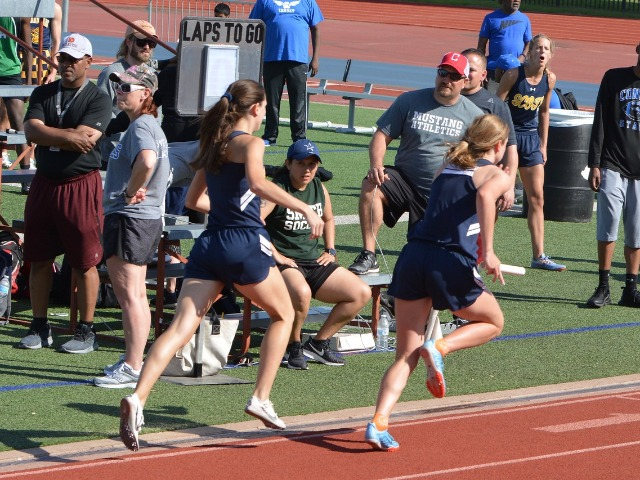 2019 District 11-5A Meet - Senior Captain Maddy Stephens and Junior Mary Warriner Kemp - 4 x 400 M Relay