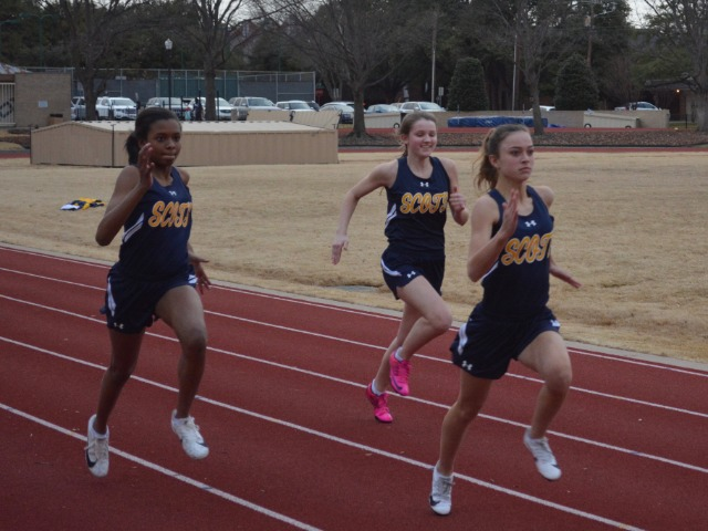 2019 Dual Meet - Freshmen Alex Jack and Shelby Pettit and Junior Olivia Whann - 100 M Dash